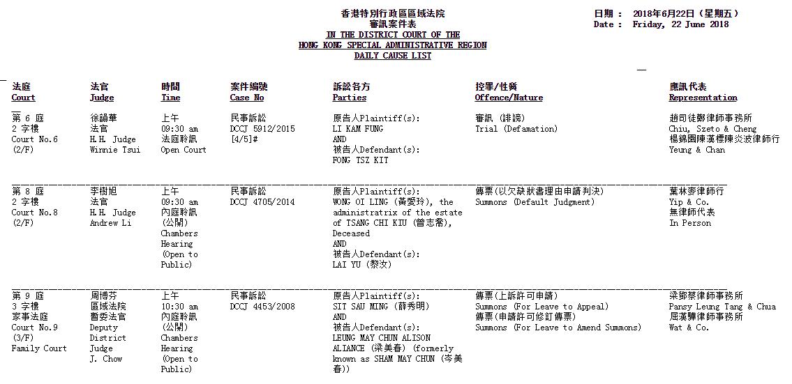 Daily Course List 每日法庭排期表